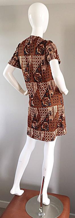 1960s Joseph Magnin Vintage Tribal Print Ethnic A - Line Trapeze Babydoll Dress For Sale 1