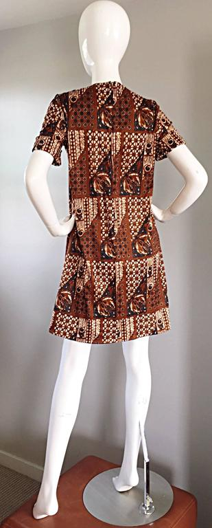 1960s Joseph Magnin Vintage Tribal Print Ethnic A - Line Trapeze Babydoll Dress For Sale 4