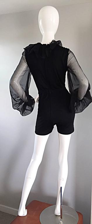 Mollie Parnis Vintage 70s Black Jersey Playsuit Romper w/ Poet Chiffon Sleeves For Sale 3