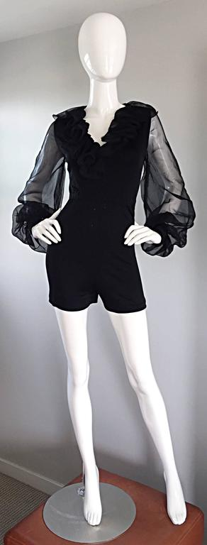 Women's Mollie Parnis Vintage 70s Black Jersey Playsuit Romper w/ Poet Chiffon Sleeves For Sale