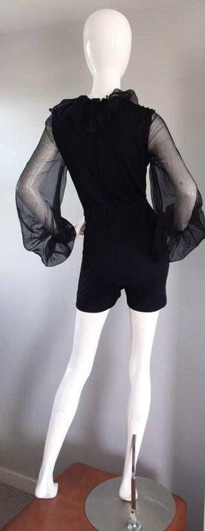 Mollie Parnis Vintage 70s Black Jersey Playsuit Romper w/ Poet Chiffon Sleeves In Excellent Condition For Sale In Chicago, IL