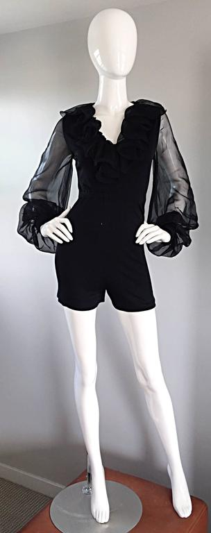 Mollie Parnis Vintage 70s Black Jersey Playsuit Romper w/ Poet Chiffon Sleeves For Sale 4