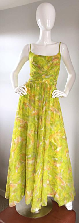 Amazing 1970s JOSEPH MAGNIN chartreuse / neon green silk chiffon Grecian maxi dress! Features a fabulous overlay of chiffon, in the same watercolor print as the actual dress. Flattering pleated bodice, with thin spaghetti straps at each shoulder.
