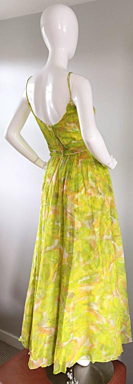 Yellow Amazing 1970s Joseph Magnin Chartreuse Green Chiffon 70s Vintage Maxi Dress Gown For Sale