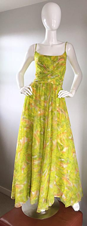 Amazing 1970s Joseph Magnin Chartreuse Green Chiffon 70s Vintage Maxi Dress Gown In Excellent Condition For Sale In San Francisco, CA