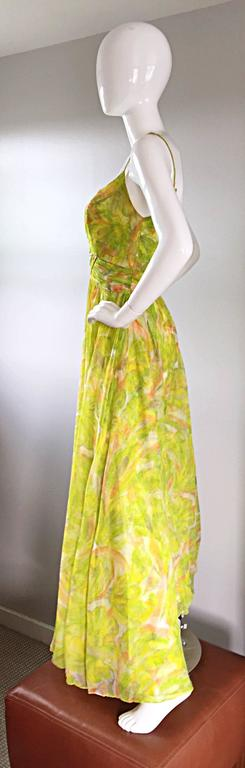 Women's Amazing 1970s Joseph Magnin Chartreuse Green Chiffon 70s Vintage Maxi Dress Gown For Sale