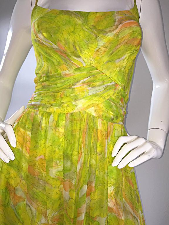 Amazing 1970s Joseph Magnin Chartreuse Green Chiffon 70s Vintage Maxi Dress Gown For Sale 1