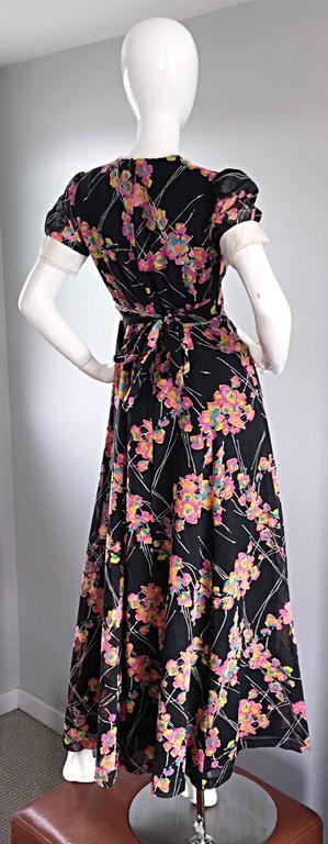 Women's 1970s Joseph Magnin Black Multi Colored Flower Print Vintage 70s Maxi Dress For Sale