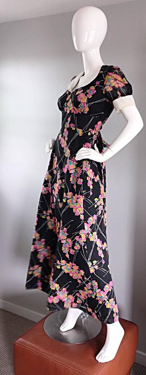 1970s Joseph Magnin Black Multi Colored Flower Print Vintage 70s Maxi Dress In Excellent Condition For Sale In Chicago, IL