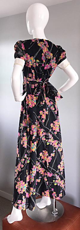 1970s Joseph Magnin Black Multi Colored Flower Print Vintage 70s Maxi Dress For Sale 4