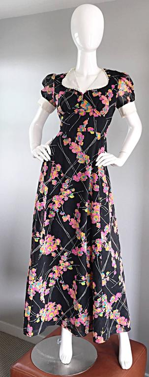 1970s Joseph Magnin Black Multi Colored Flower Print Vintage 70s Maxi Dress For Sale 5