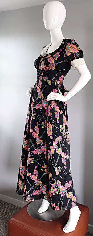 1970s Joseph Magnin Black Multi Colored Flower Print Vintage 70s Maxi Dress For Sale 2