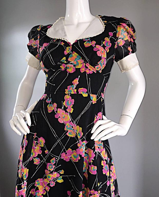 1970s Joseph Magnin Black Multi Colored Flower Print Vintage 70s Maxi Dress For Sale 1