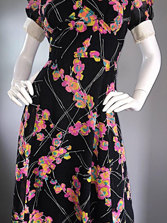 1970s Joseph Magnin Black Multi Colored Flower Print Vintage 70s Maxi Dress For Sale 3
