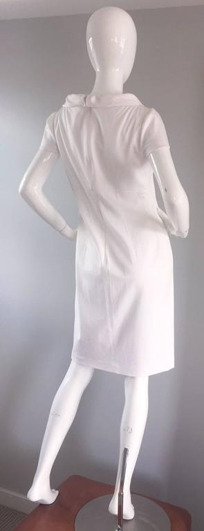 Brand New Valentino White Jackie O 1960s 60s Style Cowl Neck Dress Rt. $3,800 For Sale 1