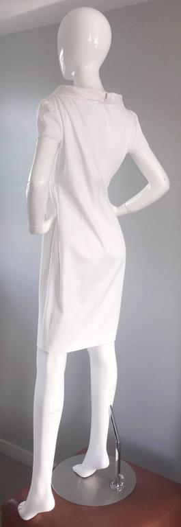 Women's Brand New Valentino White Jackie O 1960s 60s Style Cowl Neck Dress Rt. $3,800 For Sale