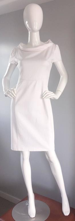 Brand New Valentino White Jackie O 1960s 60s Style Cowl Neck Dress Rt. $3,800 For Sale 2