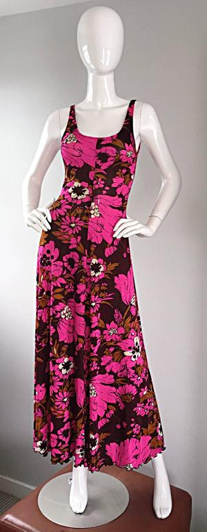 1970s Michael Dayan Hot Pink + Brown Floral 70s Vintage Jersey Maxi Dress 2