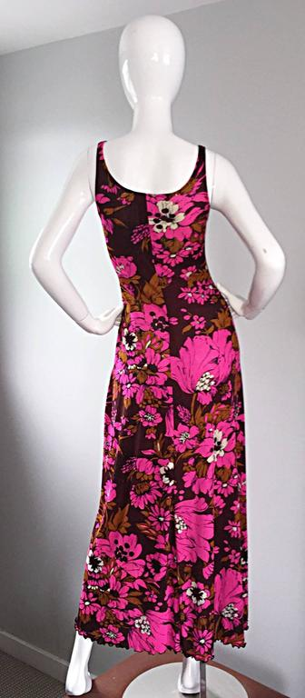 1970s Michael Dayan Hot Pink + Brown Floral 70s Vintage Jersey Maxi Dress 5