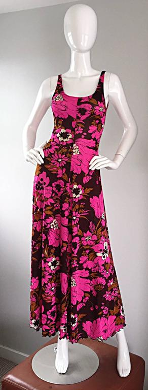 1970s Michael Dayan Hot Pink + Brown Floral 70s Vintage Jersey Maxi Dress 7
