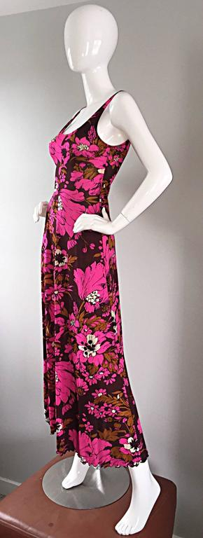 1970s Michael Dayan Hot Pink + Brown Floral 70s Vintage Jersey Maxi Dress 3