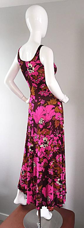 1970s Michael Dayan Hot Pink + Brown Floral 70s Vintage Jersey Maxi Dress 6