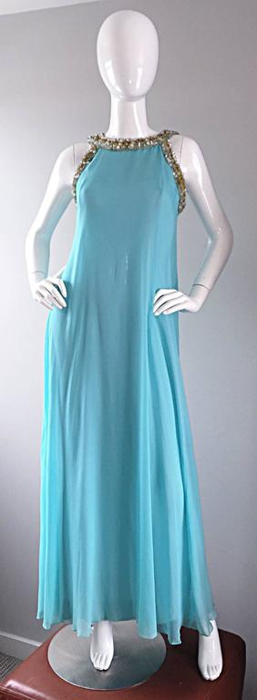 Beautiful 1960s Lord & Taylor Light Blue Aqua Chiffon Jeweled Rhinestone Gown For Sale 5