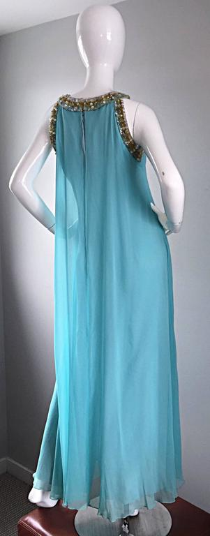 Beautiful 1960s Lord & Taylor Light Blue Aqua Chiffon Jeweled Rhinestone Gown For Sale 4