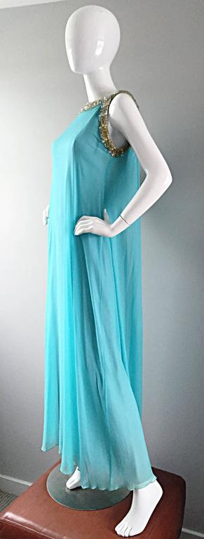 Women's Beautiful 1960s Lord & Taylor Light Blue Aqua Chiffon Jeweled Rhinestone Gown For Sale