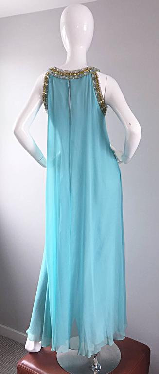 Beautiful 1960s Lord & Taylor Light Blue Aqua Chiffon Jeweled Rhinestone Gown For Sale 2