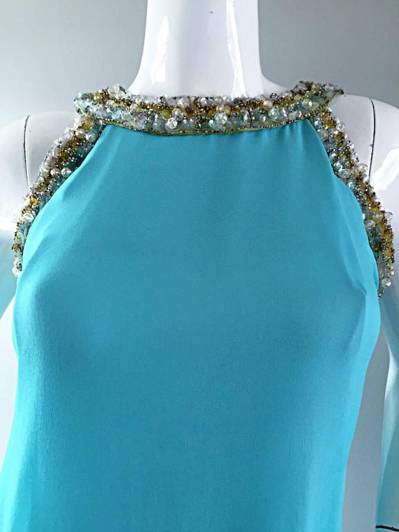 Beautiful 1960s Lord & Taylor Light Blue Aqua Chiffon Jeweled Rhinestone Gown In Excellent Condition For Sale In San Francisco, CA