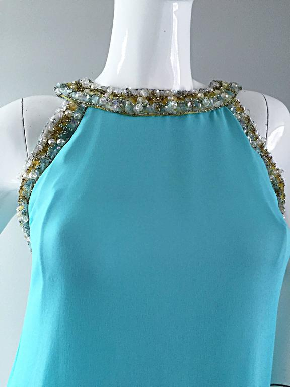 Beautiful 1960s Lord & Taylor Light Blue Aqua Chiffon Jeweled Rhinestone Gown For Sale 3