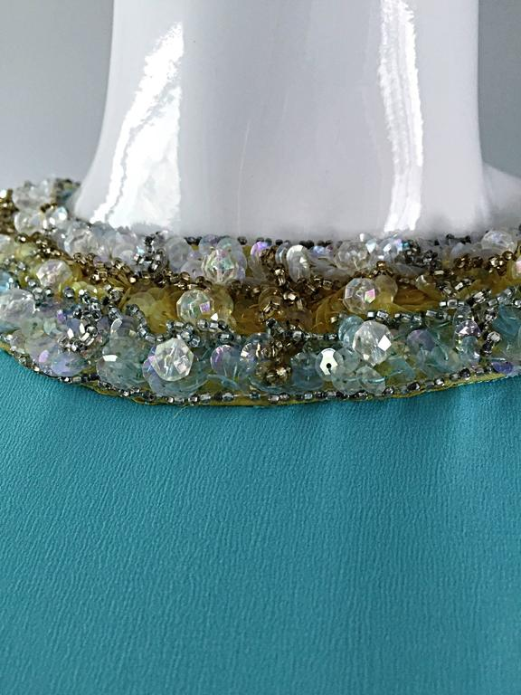 Beautiful 1960s Lord & Taylor Light Blue Aqua Chiffon Jeweled Rhinestone Gown For Sale 1