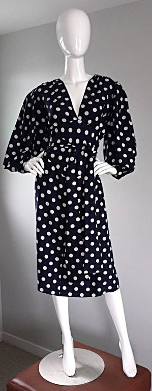 Vintage Yves Saint Laurent ' Rive Gauche ' Navy + White Silk Polka Dot Dress YSL 2