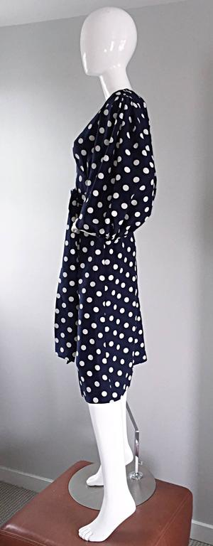Vintage Yves Saint Laurent ' Rive Gauche ' Navy + White Silk Polka Dot Dress YSL 7