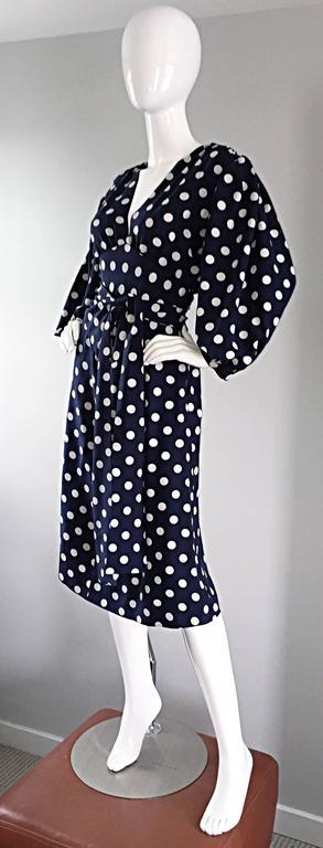 Vintage Yves Saint Laurent ' Rive Gauche ' Navy + White Silk Polka Dot Dress YSL 4