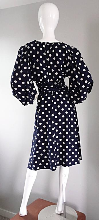 Vintage Yves Saint Laurent ' Rive Gauche ' Navy + White Silk Polka Dot Dress YSL 5
