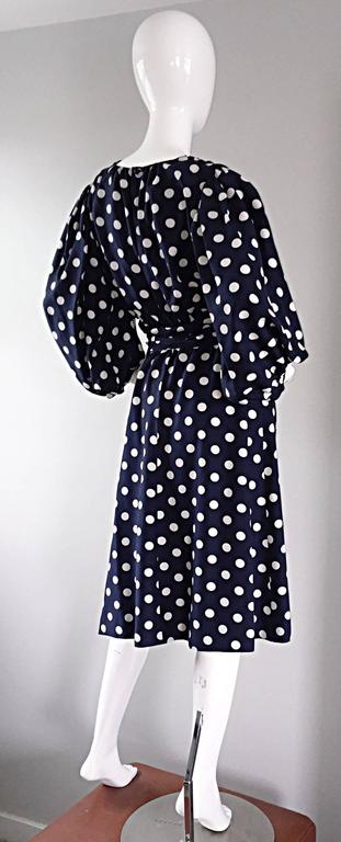 Vintage Yves Saint Laurent ' Rive Gauche ' Navy + White Silk Polka Dot Dress YSL 8