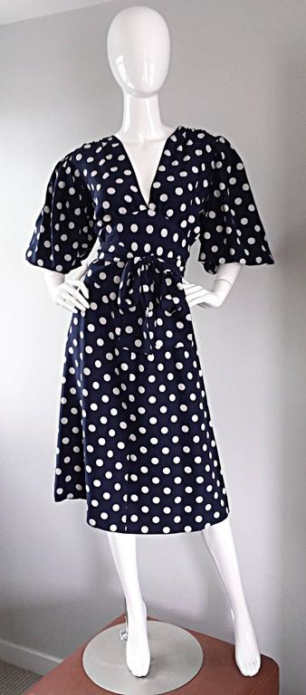 Vintage Yves Saint Laurent ' Rive Gauche ' Navy + White Silk Polka Dot Dress YSL 3