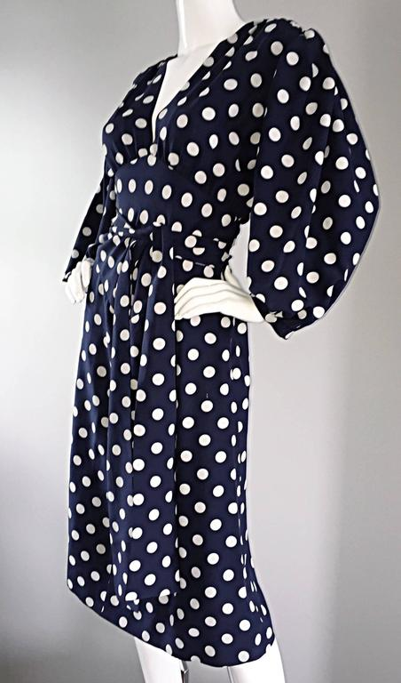 Vintage Yves Saint Laurent ' Rive Gauche ' Navy + White Silk Polka Dot Dress YSL 9