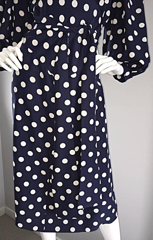 Vintage Yves Saint Laurent ' Rive Gauche ' Navy + White Silk Polka Dot Dress YSL 6
