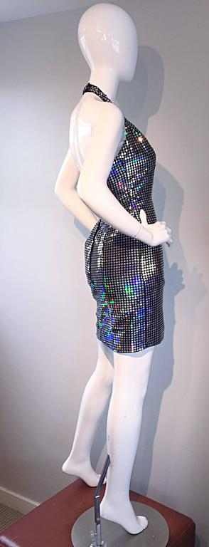 Mike Benet 1990s Vintage Holographic Mirrored Bodycon Sexy 90s Halter Dress 7
