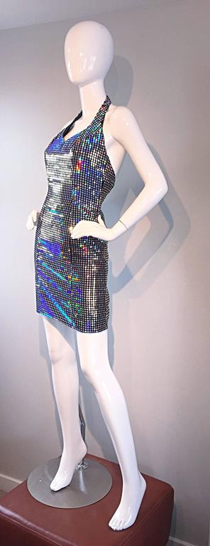 Mike Benet 1990s Vintage Holographic Mirrored Bodycon Sexy 90s Halter Dress 8