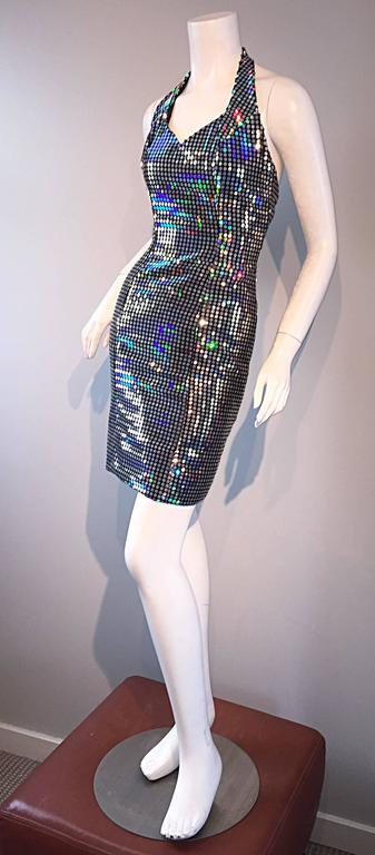 Mike Benet 1990s Vintage Holographic Mirrored Bodycon Sexy 90s Halter Dress 6