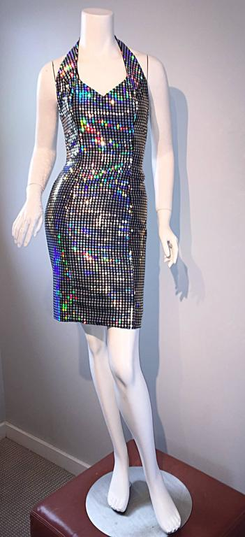 Mike Benet 1990s Vintage Holographic Mirrored Bodycon Sexy 90s Halter Dress 3
