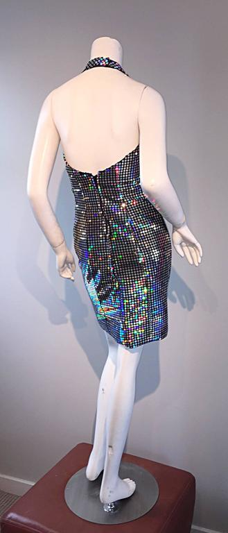 Mike Benet 1990s Vintage Holographic Mirrored Bodycon Sexy 90s Halter Dress 5