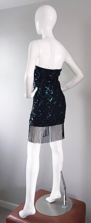Vintage J Reynolds Black Teal Sequin Lace Beaded Fringe
