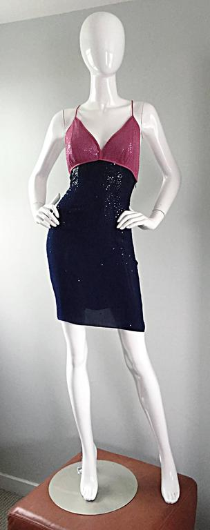Sexy vintage NEIL BIEFF raspberry pink and navy blue silk sequin halter dress, with tassel details on the back! Pink sequins scattered throughout the bodice, with navy blue sequins scattered throughout the skirt. Unique flattering cut, that can be