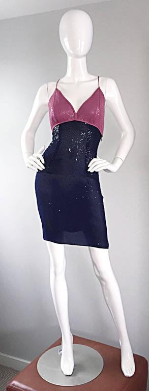 Sexy Vintage Neil Bieff Pink + Navy Blue Silk Sequin Dress w/ Tasseled Back For Sale 4