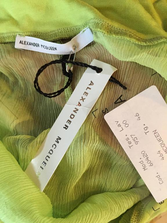 Exquisite Alexander McQueen c. 2004 BNWT Chartreuse Green Chiffon Jeweled Top For Sale 6